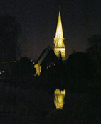 St Paul's church spire illuminated at night