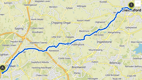 Map of route Woodford Bridge to Chelmsford